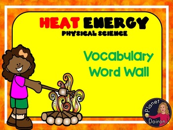 Heat Energy elementary physical science vocabulary word wall cards