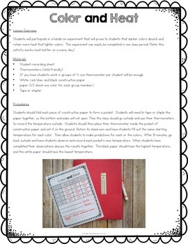 Heat Experiments and Printables