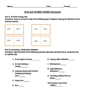 Heat Flow and Thermal Energy Homework