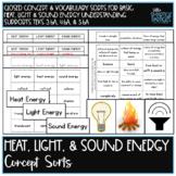 Heat, Light, & Sound Energy Science Concept Sorts