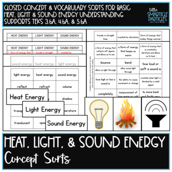 Heat, Light, & Sound Energy Science Concept Sorts