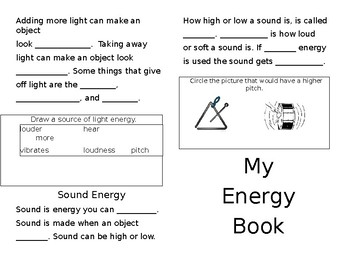 Heat, Light, and Sound Energy Interactive Notebook