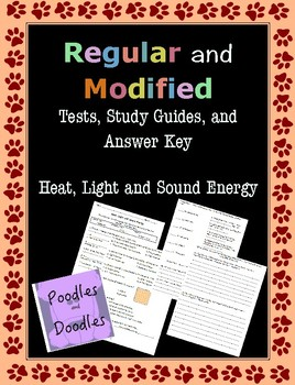 Heat, Light, and Sound Energy Regular and MODIFIED Assessments