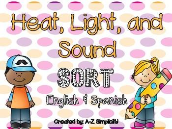 Heat, Light, and Sound Energy SORT! English & Spanish