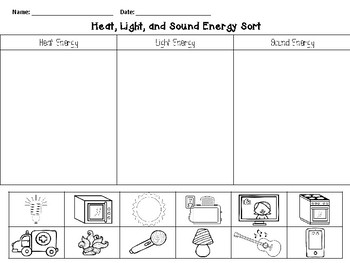 UPDATED Heat, Light, and Sound Energy SORT! English & Spanish