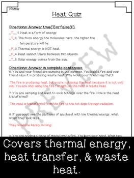 Heat Quiz ~ Regular & Modified Quiz ~ 4th Grade