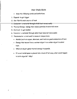 Heat Study Guide for Review and Test Prep 3rd Grade Science
