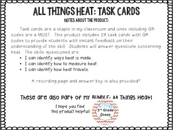 Heat Task Cards { With QR Codes }