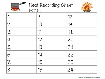 Heat Task / Scoot Cards & Game board