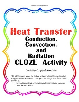 heat transfer conduction convection radiation cloze by curly que science. Black Bedroom Furniture Sets. Home Design Ideas