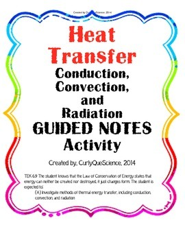 Heat Transfer (Conduction, Convection, Radiation) Guided Notes | TpT