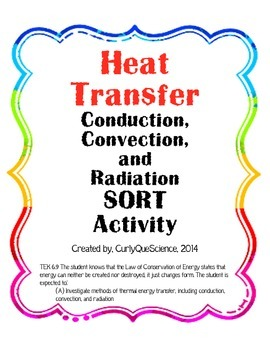 Heat Transfer (Conduction, Convection, Radiation) Sort ONLY Activity