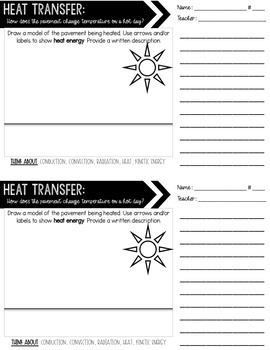 Heat Transfer Exit Tickets - Thermal Energy - Conduction Convection Radiation