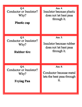 Heat Transfer Fan and Pick Cards with Answers (Kagan's Structure) Science