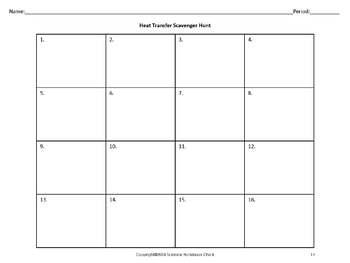 Heat Transfer Task Cards and Scavenger Hunt