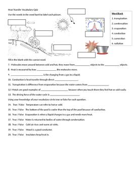 Heat Transfer Vocabulary Quiz