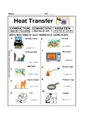 Heat Transfer Worksheet Convection Conduction and Radiation