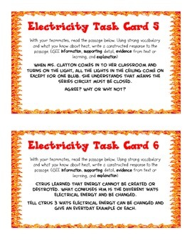 Heat and Electricity Task Cards