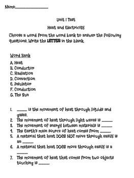 Heat and Electricity Test
