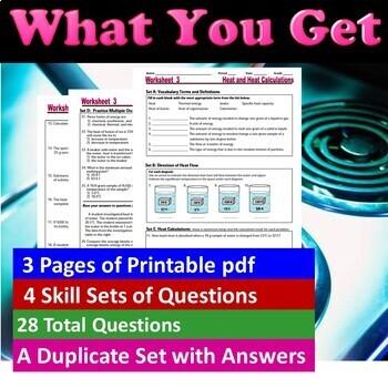 Thermal Energy, Heat Flow, Heat Calculations: Essential Skills Worksheet #3