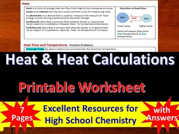 Heat and Heat Calculations: Printable Guided Reading & Worksheets for HS Chem