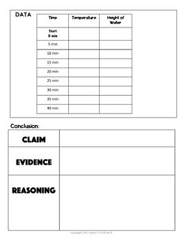 Heat and Temperature Scientific Argument with Claim Evidence Reasoning