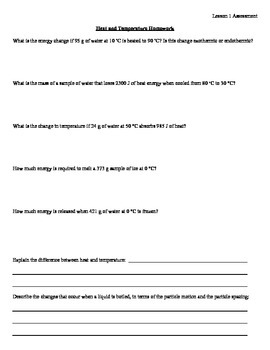 Heat and Temperature Homework Worksheet