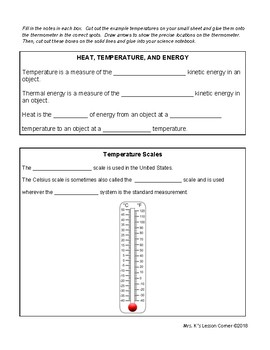 Heat and Temperature Interactive Notes