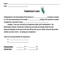 Heat and Temperature Unit:  Notes on Temperature