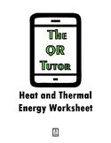 Heat and Thermal Energy Worksheet