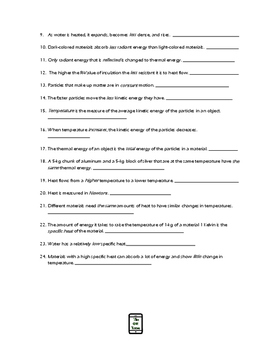 Heat and Thermal Energy Worksheet by The Shep Shop | TpT
