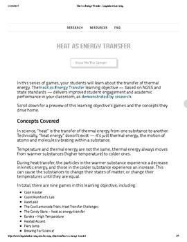 Heat as Energy Transfer - Legends of learning