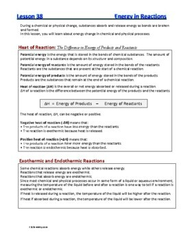 Heat of Reactions, Potential Energy, Entropy: Essential Skills Lesson #38 & 40