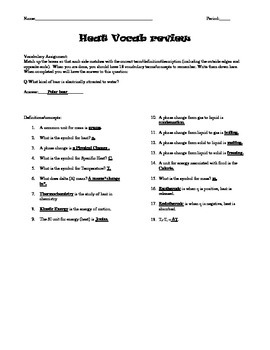 Heat (qmCT) 3x3 Vocabulary Puzzle Answer Sheet with Instructions