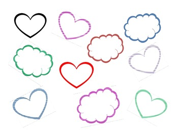 Hearts and Clouds Clip Art
