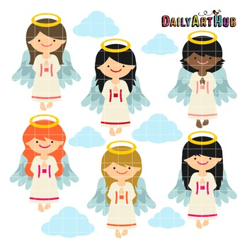 Heavenly Angels Clip Art - Great for Art Class Projects!