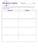 Heavier or Lighter worksheet