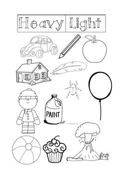 Heavy And Light Worksheet | Teachers Pay Teachers