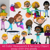 Heavy Work Activity and Sensory Diet Student Clip Art - 45 Color Images