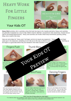 Heavy Work for Little Fingers! Fine Motor Finger Warm Ups!