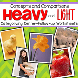 Heavy and Light Center and Printables for Preschool and Ki