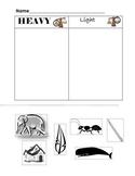 heavy and light sort worksheets teaching resources tpt. Black Bedroom Furniture Sets. Home Design Ideas