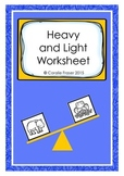 Heavy and Light Worksheet Freebie