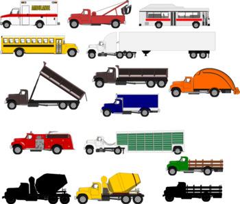Heavy trucks clip art package 1