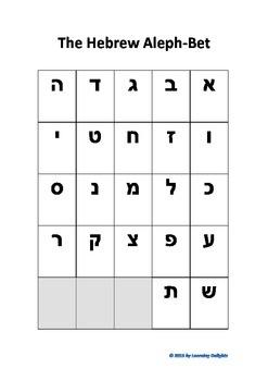 Hebrew Aleph-Bet Beginner Chart