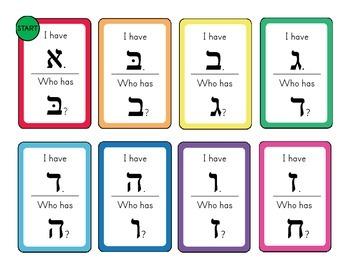 Hebrew Alphabet I Have Who Has? -  Aleph/alef Bet Activity