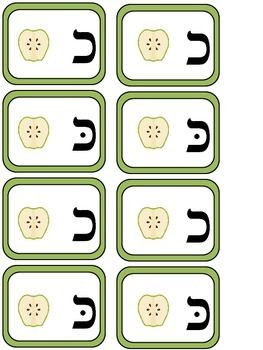 Hebrew Alphabet Look-Alike Letters -Memory Game and Go Fish (Apple Theme)
