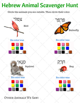 Hebrew Animal Scavenger Hunt Sheet