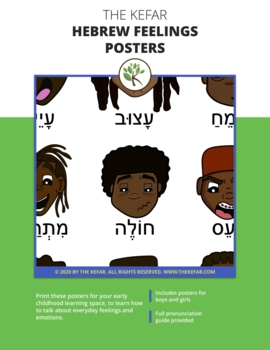 "Hebrew Feelings & Emotions Posters - ""How Are You Feeling Today?"""