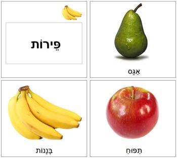 Hebrew - Fruit Cards - Lrg